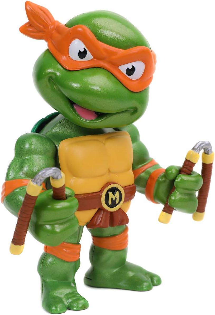 Jada - Figura Michelangelo de Tortugas Ninja, Articulada, 10 cm, Realizada en Metal Fundido a Presión, 100% Licencia Oficial, Coleccionismo, para Niños a Partir de 8 Años y Adultos