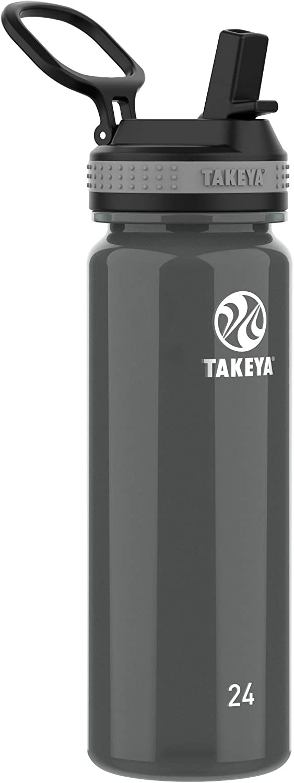 Takeya Tritan Sports Water Bottle with Straw Lid, 24 oz, Black
