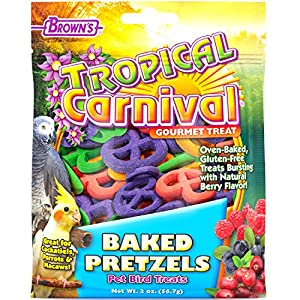 F.M. Brown's Tropical Carnival Baked Pretzels Treat for Pet Birds, 2-oz Bag - Gluten Free Chewing Treat for Cockatoos, Macaws, and Other Large Hookbills 39