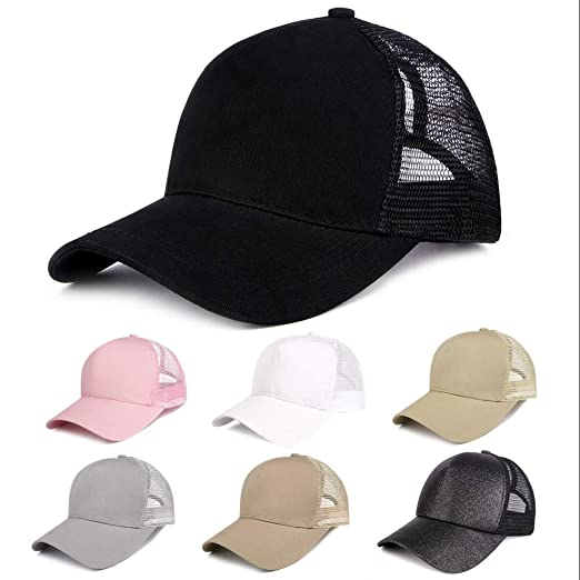 b430c890dd6 HYKYMY Ponytail Baseball Cap Hat Ponycap Messy Bun Mesh Adjustable Trucker  Hats for Women Black