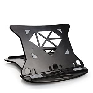 COOSKIN Ventilated Laptop Stand with Height Adjustable (Up to17cm),Foldable Laptop Riser with Swivel Base, Ultra Portable Desktop Stand for MacBook (Black)