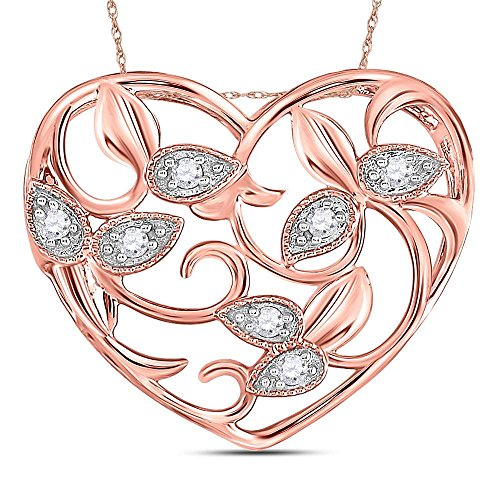 Heart Floral Diamond (14kt Rose Gold Womens Round Diamond Floral Heart Pendant 1/6 Cttw)