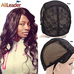 Black Double Lace Wig Caps For Making Wigs Hair Net with Adjustable Straps Swiss Lace Large Size from AliLeader