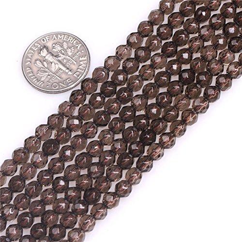 4mm Round Faceted Smoky Quartz Beads Strand 15 Inch Jewelry Making Beads Quartz 4mm Faceted Round Beads