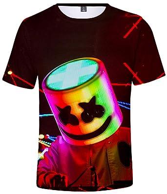 7aa7534b8626b EMILYLE Garçon T-Shirt DJ Marshmello Enfants Tee Shirt Impression 3D  Multicolore à Manches Courte
