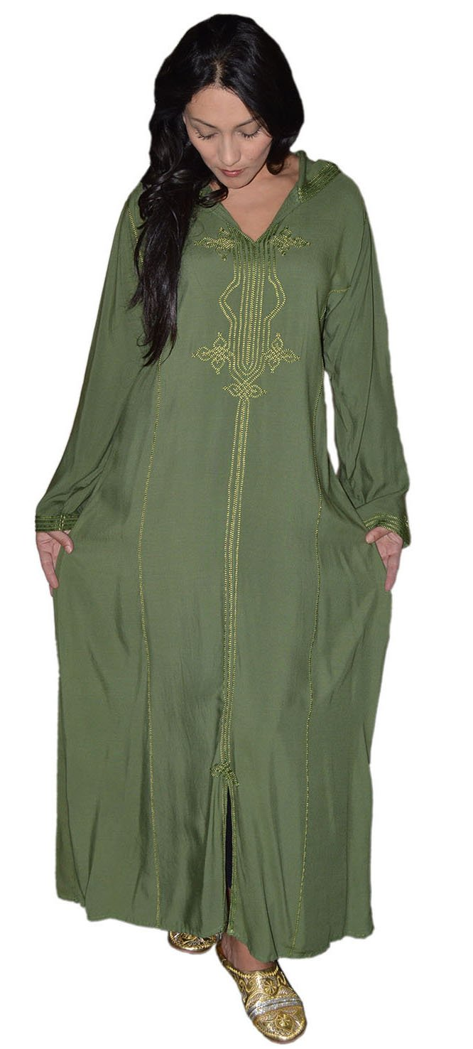 Moroccan Caftans Women Hand Made Djellaba Embroidered Size Extra Large Green by Moroccan Caftans (Image #3)