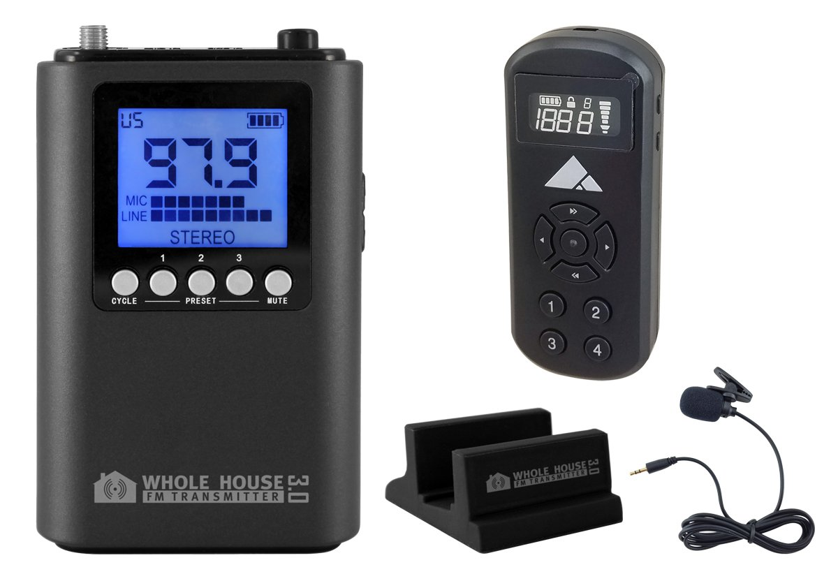 Whole House FM Transmitter 3.0 w/Mini Pocket FM Radio, Stand & Microphone by Whole House FM Transmitter