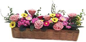 1/12 Artificial Miniature Flowers Garden Ornament, Mini Colorful Long Potted Plant Flowers Pot, Tiny Flower Pot Bonsai Model Miniature Fairy Garden Accessory Dollhouse Micro Landscape Decoration