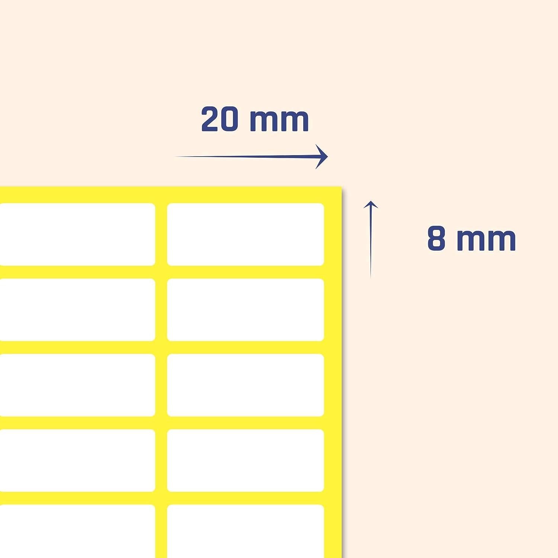Etichette Adesive Bianche Superficie opaca 1000 pezzi 20 x 8 mm