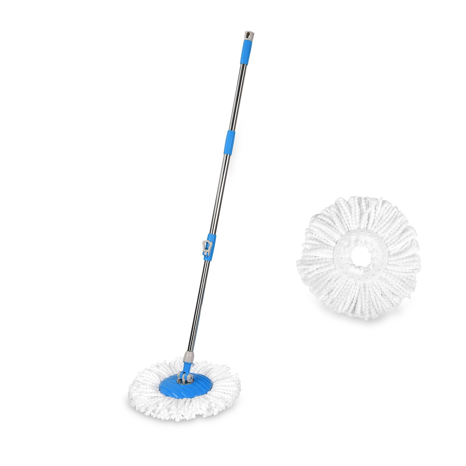 HAPINNEX Floor Mop Handle Replacement & 2 Microfiber Mop Heads Refills - Suitable for Push & Pull Spin Cleaning Mops Bucket