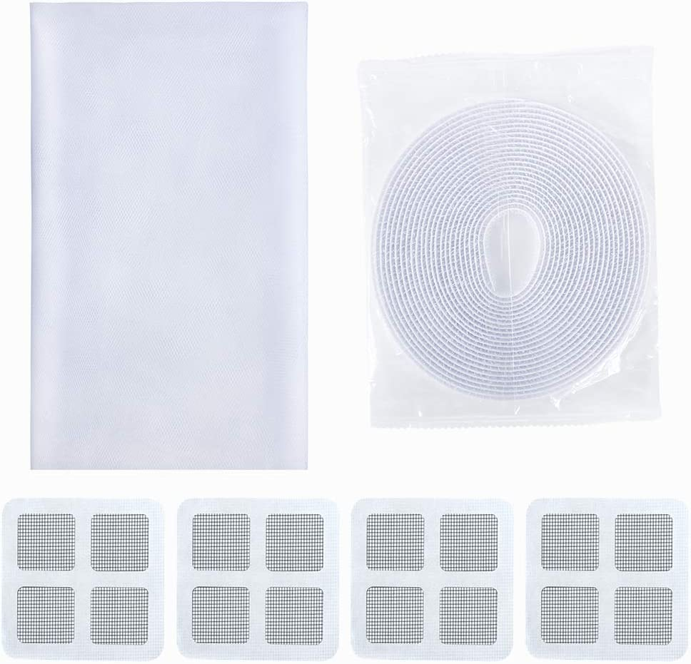 Fly Window Screen Mesh with 4 Rolls Self-Adhesive Hoop Tape 1.5 X 2 m, White Ciaoed 4 Pack Window Insect Screen Net Mosquito Net for Window