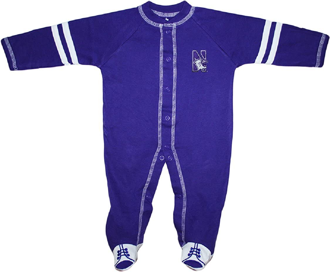 Creative Knitwear Northwestern University Wildcats Sports Shoe Footed Baby Romper