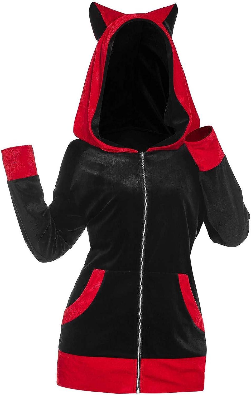 Women Long Sleeve Cosplay Cat Ear Faux Furs Insert Zip Up Hoodie Sweatshirt Pullover Pocket Hooded Cardigan Oversized Tops