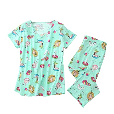 Women Pajama Set Sleepwear Tops with Capri Pants Casual and Fun Prints Pajama Sets at Women's Clothing store