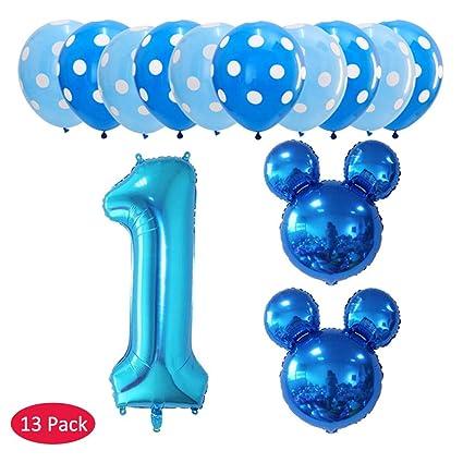 Amycute 13 pcs Globos de cumpleaños 1 año, Decoración Fiesta ...