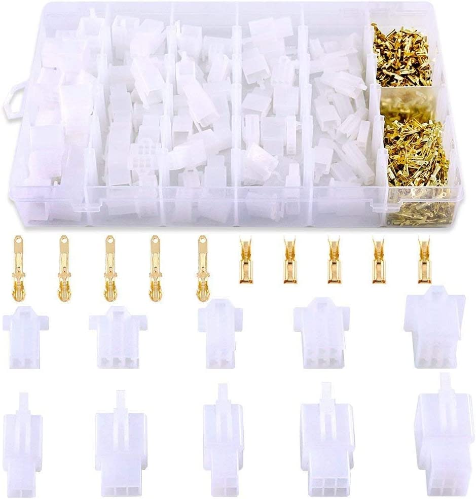 580Pcs 2.8mm Pitch 2 3 4 6 9 Pin Wire Connectors Housing Terminal, Male & Female Plug Housing and Pin Header Crimp Wire Terminals Connector Assortment Kit for Motorcycle, Bike, Car, Boats