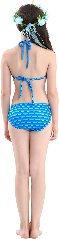 Le SSara Girls Colorful Mermaid Pattern Traje de ba/ño Bikini Establece Traje de ba/ño para Cosplay Party