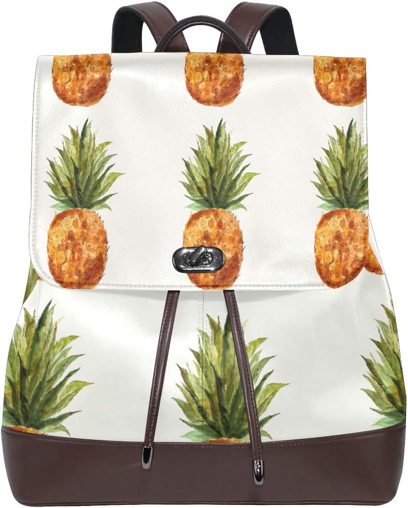 Leather Pineapple Watercolor Backpack Daypack Bag Women
