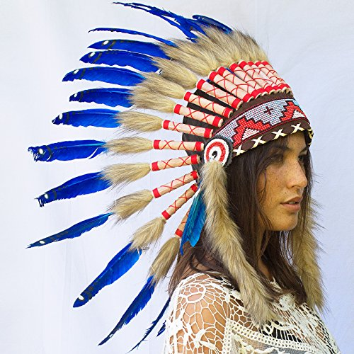 Indian Medicine Man Costume (Feather Headdress- Native American Indian Inspired- Handmade by Artisan Halloween Costume for Men Women with Real Feathers - Dark Blue Duck)