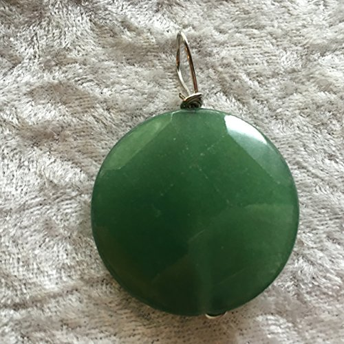 natural green aventurine gemstone faceted puffy coin ()