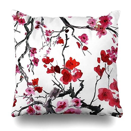 DIYCow funda de almohada con diseño de flores verdes ...
