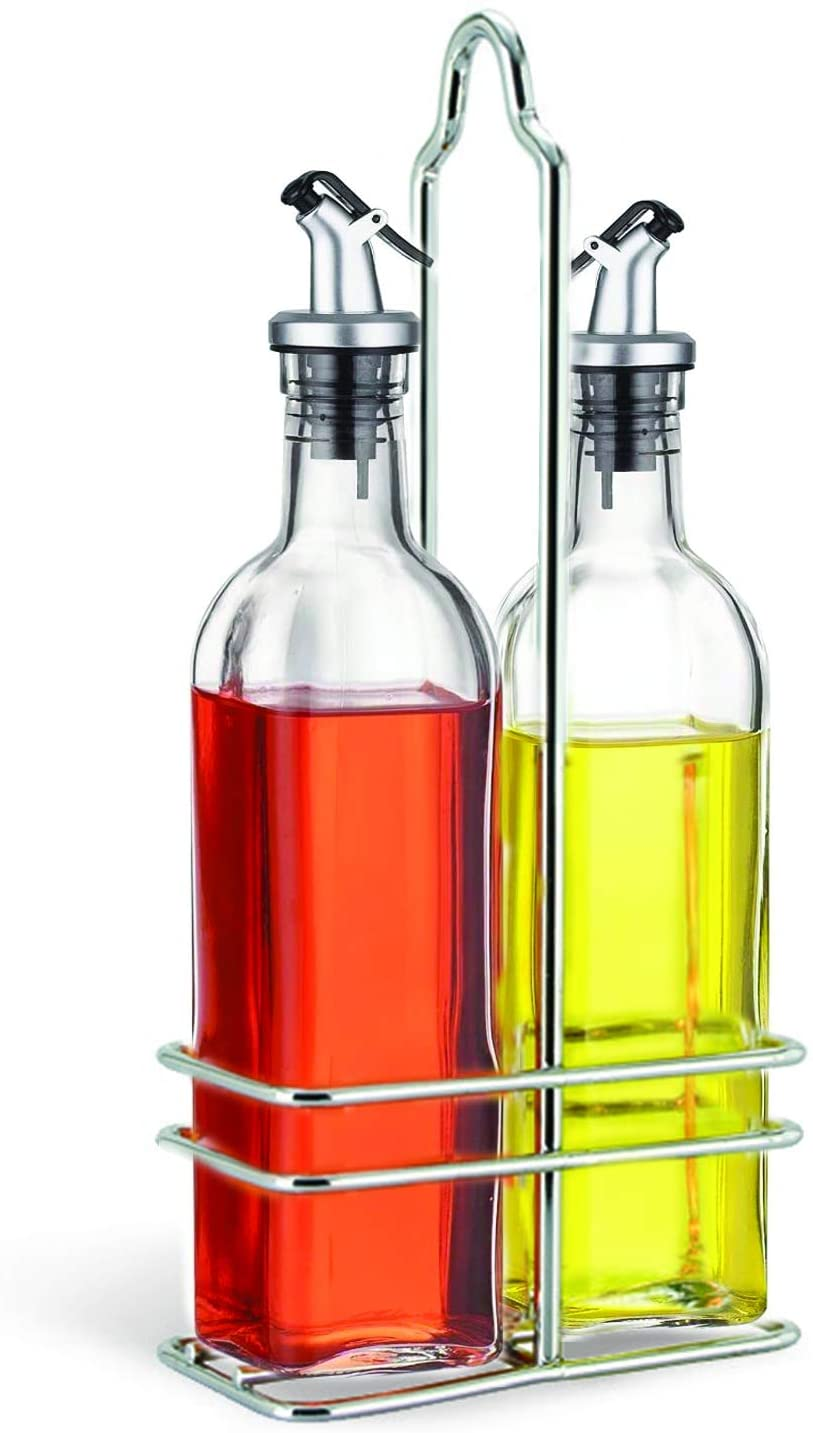 Cuisinox Oil and Vinegar Cruet Set with Caddy, Silver: Kitchen & Dining