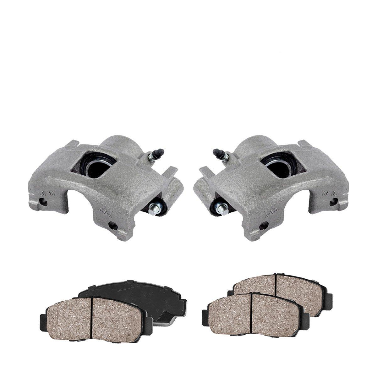 2 Quiet Low Dust Ceramic Brake Pads CCK11345 FRONT Premium Loaded OE Caliper Assembly Set