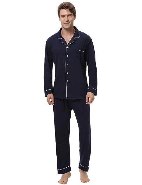 250ad8e88 Aibrou Pijamas Hombre Invierno Algodón 2 Piezas Calentito Pijamas Hombre Otoño  Algodón