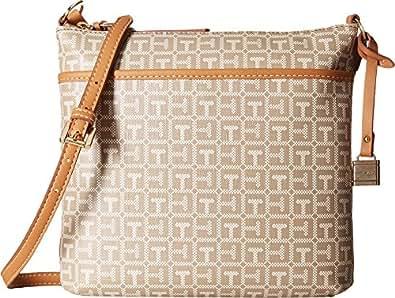 Tommy Hilfiger Women's Monogram North/South Crossbody Natural/Multi Crossbody Bag