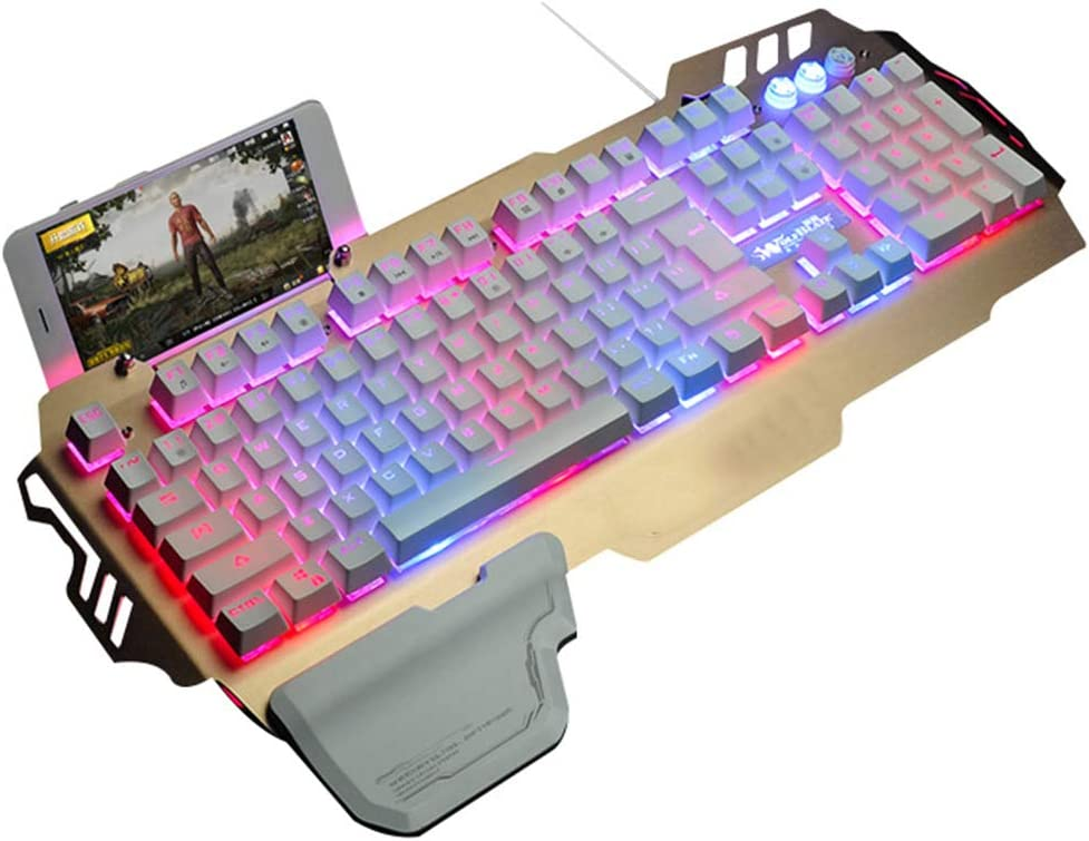 Teclado para juegos, 104-Key panel del metal soporte del teléfono, USB, ajustable de luz de fondo LED, Demasiado resto de la mano, 26-Key libre de conflictos, conveniente para los juegos, Oficina,Oro