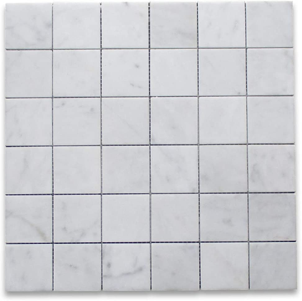Italian White Carrara Marble Hexagon Mosaic Tile 2x2 Honed