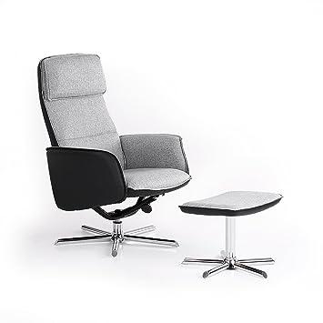 IKAYAA CX610001 - Sillón Relax con Reposapiés (Reclinable,MAX.130Kg,Sin Ruedas,360° Giratorio) - para Salón Dormitorio Jardín Balcón Oficina