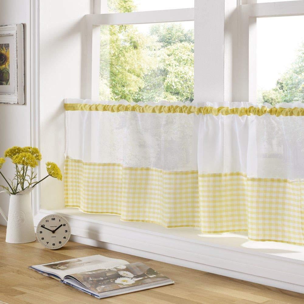 Amarillo 59 x 18 cuadros vichy Confeccionado con Jareta gasa Caf/é Panel Cortina