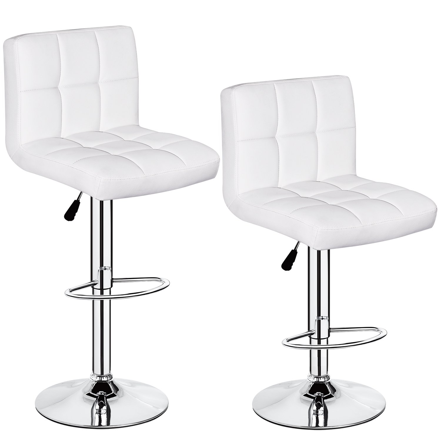 Set of 2 PU Leather Hydraulic Swivel Gas lift Bar Stools 350 lbs Capacity Height Adjustable White