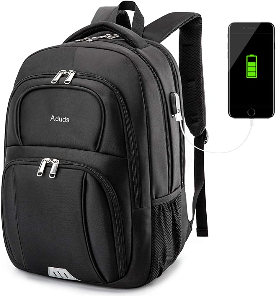Aduds 15.6inch Laptop Backpack,Water-Resistant Durable Travel Business Computer Backpack with USB Charging Port,College Bookbag,Overnight Weekender Bag Rucksack for men women