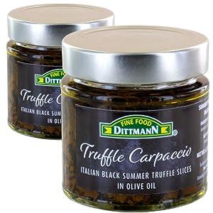 100% Italian Black Summer Truffle Carpaccio (2 x 6.35 Oz) - Thin Shaved Truffle Sliced (Tuber Aestivum) in Olive Oil - Gourmet Ready to Eat Truffles