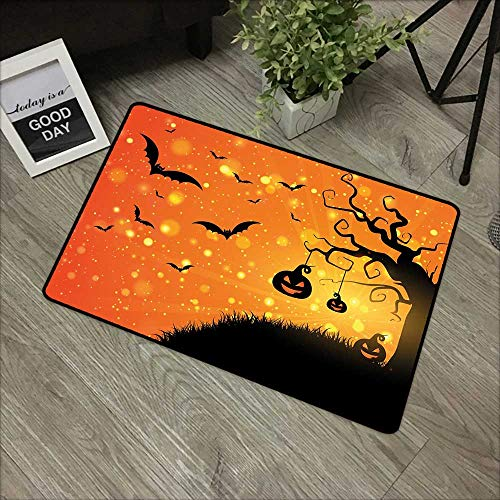 Clear Printed Pattern Door mat W16 x L24 INCH Halloween,Magical Fantastic Evil Night Icons Swirled Branches Haunted Forest Hill,Orange Yellow Black Non-Slip Door Mat Carpet