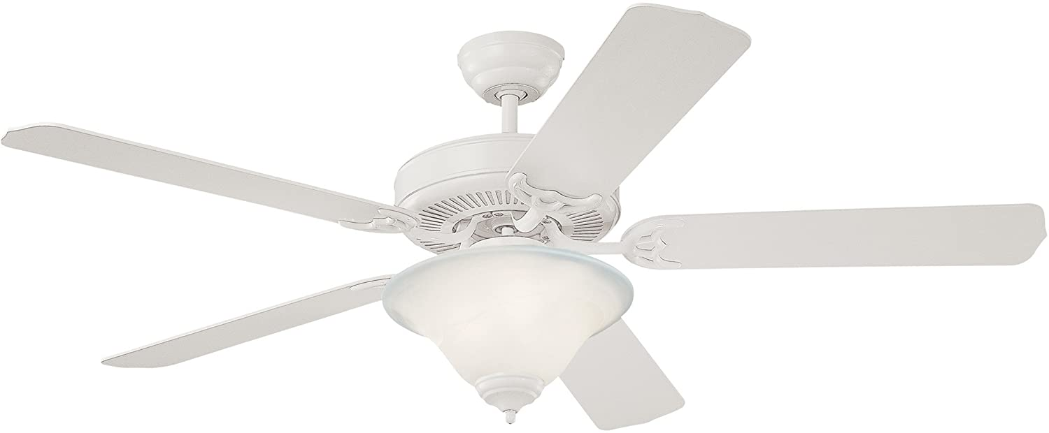 Monte Carlo 5HS52WHD-L Flush Mount, 5 White Blades Ceiling fan with 57 watts light, White