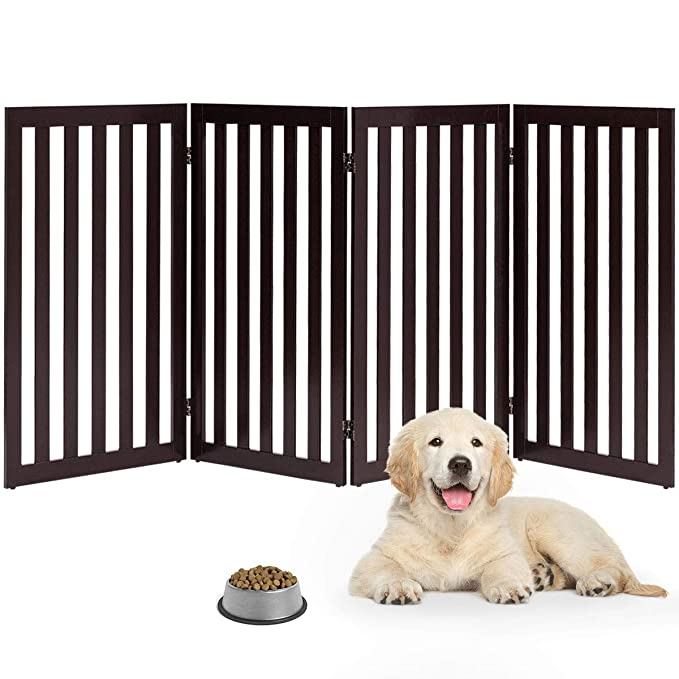 Giantex 24 Dog Gate with Arched Top for Doorway and Stairs 48 W, Brown Pet Dog Safety Fence Configurable Free Standing Wooden Gate with Foldable Panels and Sturdy Metal Hinges