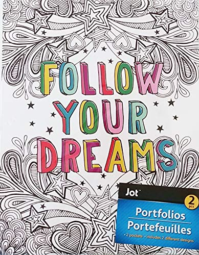 (Pack of 2 Follow Your Dreams Stylish Trendy Colorful Designs 2 Pocket Portfolio Folder w/Holes for 3-Ring Binder - School,)