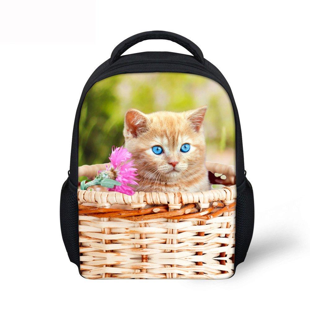 Dellukee ミニ 幼児 バックパック 男の子 女の子 スクールバッグ 竹 バスケット フラワー 猫 プリント   B07DLYVC3K