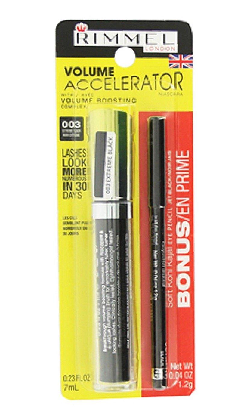 23eb0c69625 Amazon.com : Rimmel Volume Accelerator Mascara 003 Extreme Black - Bonus Soft  Kohl Kajal Eye Pencil Jet Black : Beauty