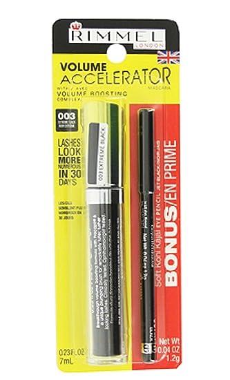 d2a9fb70b72 Amazon.com : Rimmel Volume Accelerator Mascara 003 Extreme Black - Bonus  Soft Kohl Kajal Eye Pencil Jet Black : Beauty