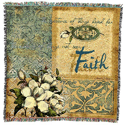 (Pure Country Weavers | Faith Woven Throw Blanket with Fringe Cotton USA 54x54)