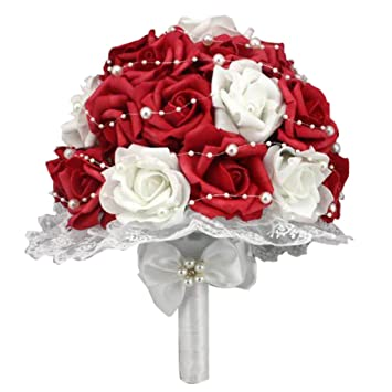 Nesno Bouquet De Mariage Bouquet De Mariage Rouge Blanc