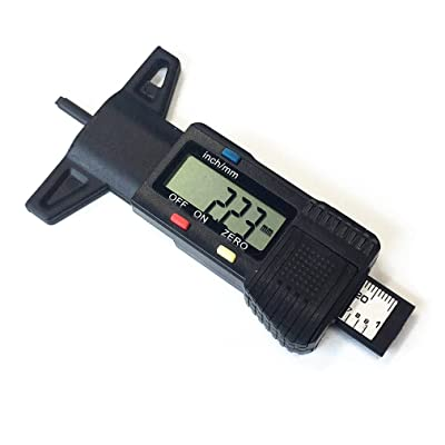 Qiorange Digital Tread Depth Guage, Car Tyre Tread Brake Pad Shoe Gauge Depth Tester Guage Meter Measurer Motorcycle Trucks (black): Automotive