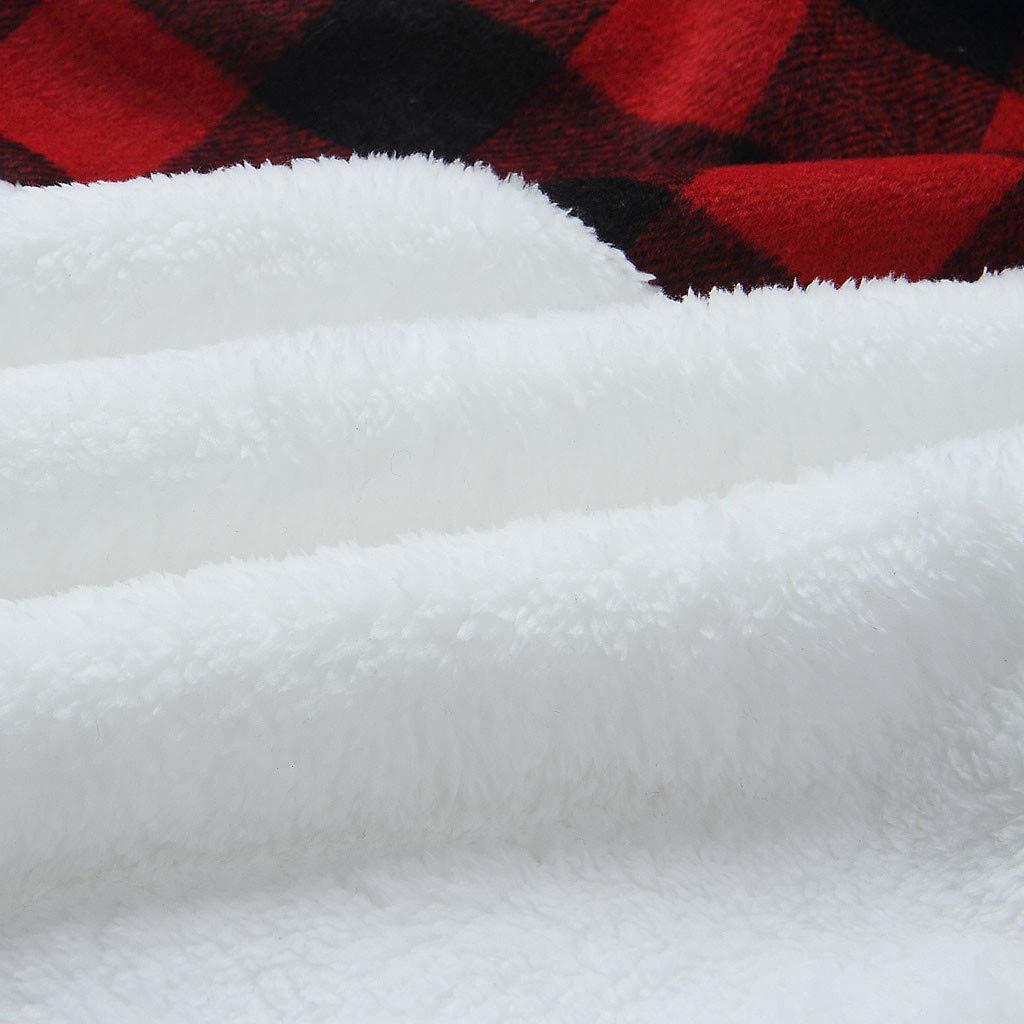 OFEFAN Womens Warm Long Sleeves Oblique Button Neck Splice Geometric Pattern Fleece Pullover Coat Sweatshirts Outwear