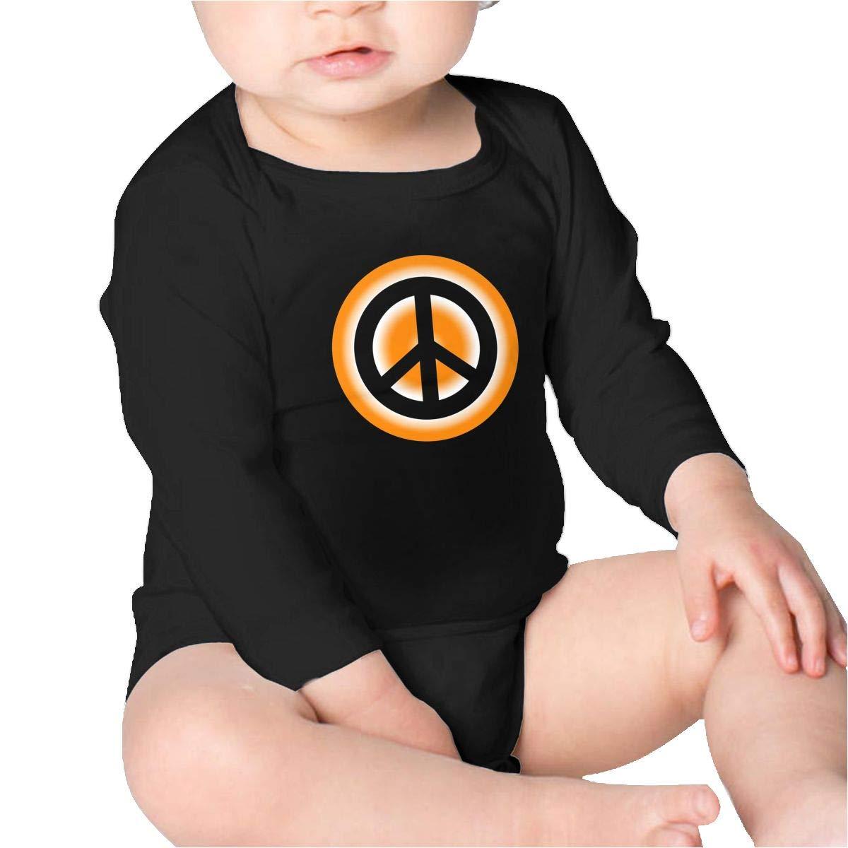 Pikaqiuleilei Peace Sign Orange Toddler Cotton,Long Sleeve Creeping Suit