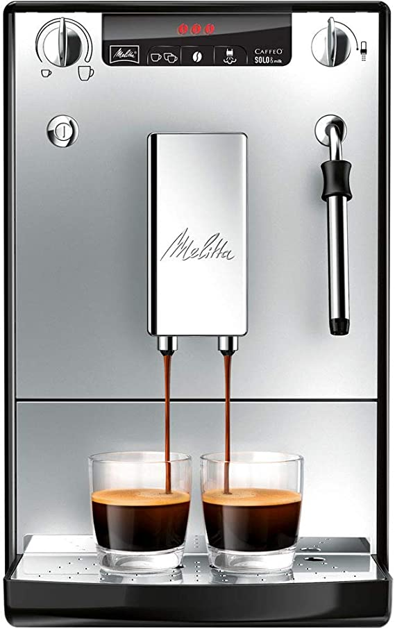 Melitta Caffeo Solo&Milk E953-102, Cafetera Automática con Sistema de Leche, Molinillo, 15 Bares, Café en Grano, Limpieza Automática, Personalizable, Plata: Amazon.es: Hogar