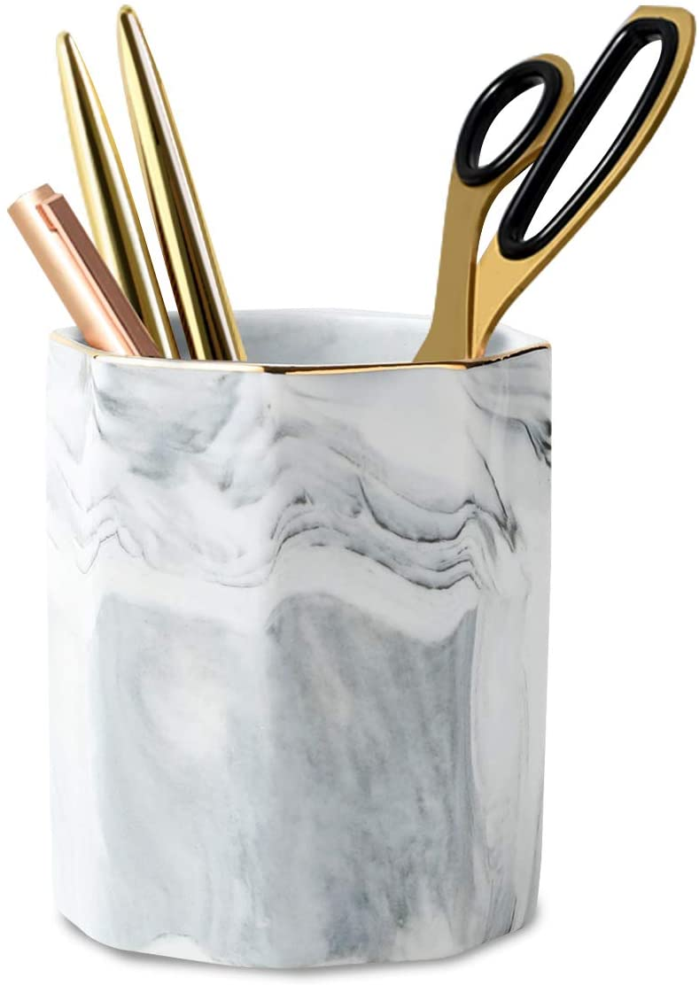 WAVEYU Pen Holder, Stand for Desk Marble Pattern Pencil Cup for Girls Kids Durable Ceramic Desk Organizer Makeup Brush Holder Ideal Gift for Office, Classroom, Home, Gray Marble